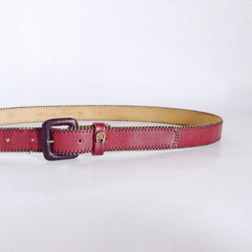Maroon Leather Belt | Small - Medium | Genuine Leather | Dark Red | Adjustable Accessory | Etienne Aigner