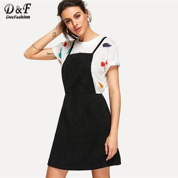 Dotfashion Crisscross Back Overall Dress Summer Sleeveless Preppy Fit and Flare Dress Women Black Pinafore Short Dress