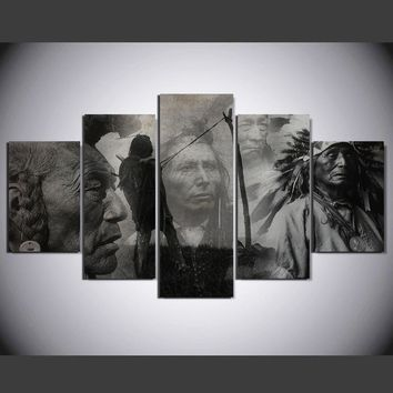 Monochrome Native American Indians 5 pcs Canvas Wall Art