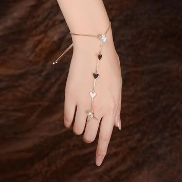DANZE Heart Hand Harness Slave Charm Bracelet & Ring for Women Crystal Butterfly Chain Link Finger Rings Wedding Jewelry Set