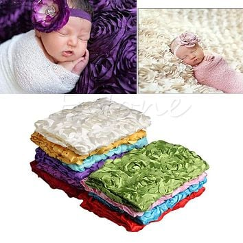 Baby Photography Blanket Newborn Baby 3D Photography Props Rug Photo Rose Flower Backdrop Blanket New