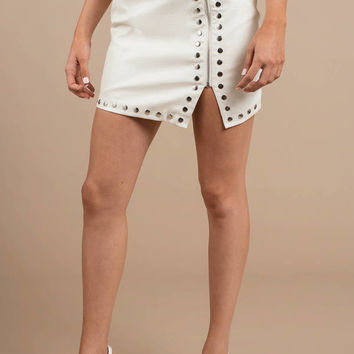 Gena Croc Embossed Faux Leather Studded Skirt