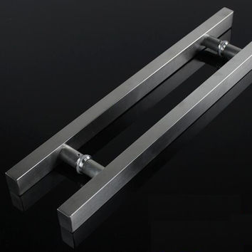 Glass Door Handle Stainless Steel Square Tube Drawing Tube Handle Door Handle (Length:450Mm C.C:300Mm)