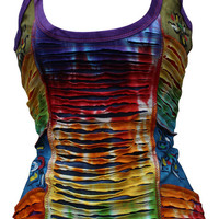 Razor Cut Rainbow Tantop Hippy Style Ladies Tops/Vest Cotton T-shirt,Boho,Cool
