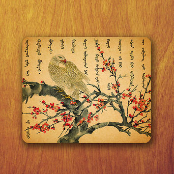 Bird Chinese Mouse Pad Beautiful Painting Old Letter Vintage Office Pad Work Accessory Personalized Custom Gift