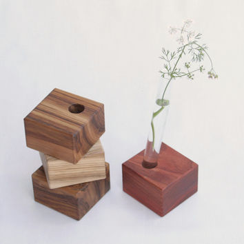 Wooden Bud Vase - Flower Vase - Wedding Decor - African Padauk wood