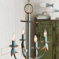 La Marina Nautical Weathered Anchor Chandelier Aqua Rust - 23-1/2-in