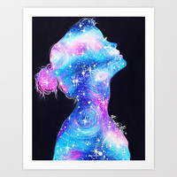 Galaxy Girl Art Print by Krista Rae