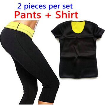 T-shirt + Pants / 2017 Hot New Shaper Women Neoprene T Shirts Control Panties Sweating Shaper Tops Stretchy Slimming Suit