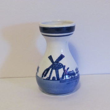 Delft Blue Dutch Windmill Vase