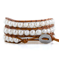 Boho Leather Wrap Bracelet with White Freshwater Pearls; Bohemian Wrap Bracelet; Boho Chic Jewelry