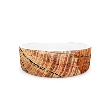 "Susan Sanders ""Rustic Dream"" Brown Wood Pet Bowl"