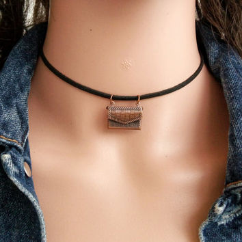 Choker Necklace with Charm  Charm Choker Bag Opening Choker  Black Choker  Choker Charms  90s Grunge