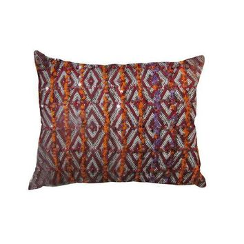 Pre-owned Berber Pillow with Orange Sequins