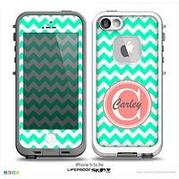 The Trendy Green & White Chevron Monogram Name Script Skin Coral v1 Skin for the iPhone 5-5s Fre LifeProof Case