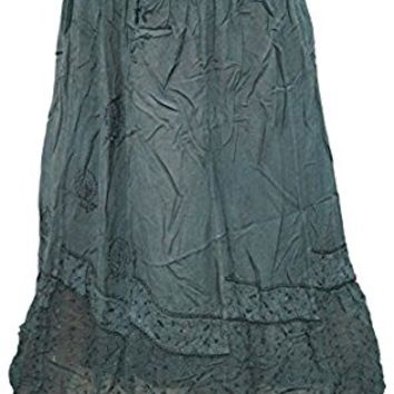 Mogul Womens Indian Renaissance Stonewashed Green Embroidered Gypsy Skirt S/M
