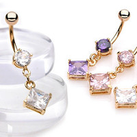 Gold Square cz Dangle Bellybutton Ring from Siarra Culbertson