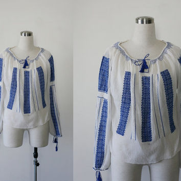 1950's vintage gauze cotton embroidered Romanian blouse, handmade peasant blouse
