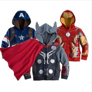 New Boys Coat The Avengers Coat Autumn Cotton Kids Jacket Children Captain America Hooded Casual Outerwear Kids Clothes