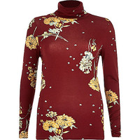Red floral print roll neck top - roll neck tops - tops - women