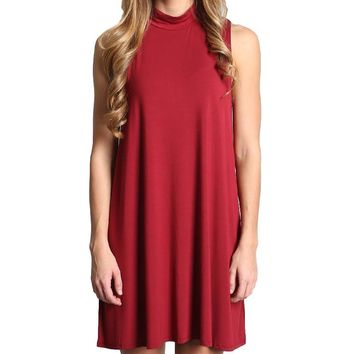 Wine Piko Tunic Mock Neck Dress