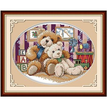 Two Teddy Bear DMC Cross Stitch Fabric 11CT Printed On Canvas Chinese Counted Cross Stitch Patterns Kits DIY Set Home Decor
