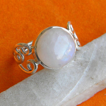 Rainbow Moonstone Ring Solid 925 Sterling Silver Pure Handmade Size: Variable (6, 7, 8, 9, 10) Exclusive Fresh Arrival XL Size available