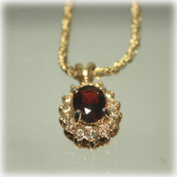 Ruby Red Pendant, Gold Chain, Henkel Grosse, Pendant Necklace, Gold Red Necklace