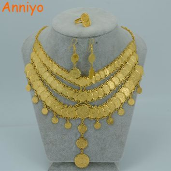 Anniyo Arab Bride Coin Set Jewelry Necklace Earring Ring Gold Color Africa Wedding/Middle East/Iran/Israel/Turkey/Egypt #027206