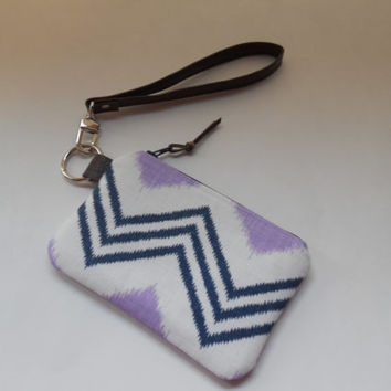 Small Wristlet Wallet, Gift Card Wallet, Coin Purse with Faux Leather Strap, Key Chain Wallet, Lavender Navy White Chevron, Ready to Ship