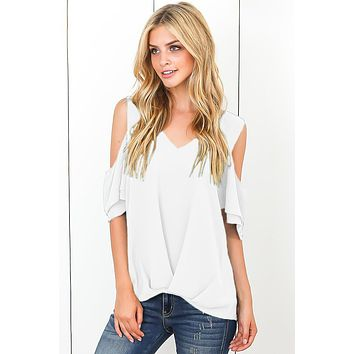 Elegant White Cold Shoulder V Neck Sewn Hem Blouse