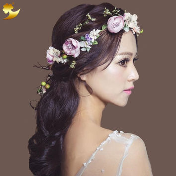 XinYun Flower Headband Hairwear Bridal Hair Ornament Fabric Flower Crown Wedding Hair Accessories Headbands Floral Head Wreath