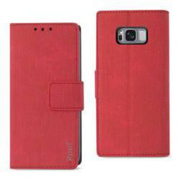 REIKO SAMSUNG GALAXY S8/ SM DENIM WALLET CASE WITH GUMMY INNER SHELL AND KICKSTAND FUNCTION IN RED