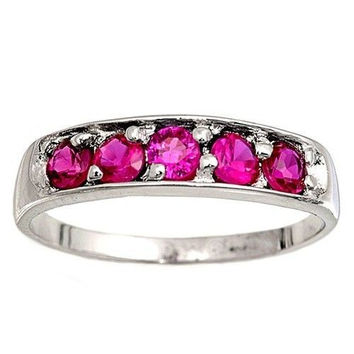Sterling Silver Ruby Red CZ Five Stones Ring Size 1-6