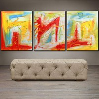 "'Sunday Bliss'  - 48"" X 20"" Original Abstract  Art.  Free-shipping within USA & 30 day return Policy."