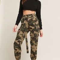 Belted Camo Cargo Joggers