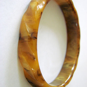 Vintage Bakelite Tortoise Shell Bangle Bracelet Antique Jewelry Jewellery Caramel Amber