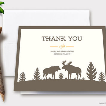 Moose Wedding Thank You Cards Printable, Personalized Note Cards, Forest Rustic Wedding Card, Couple Gift, Woodland Mountain Template, DIY