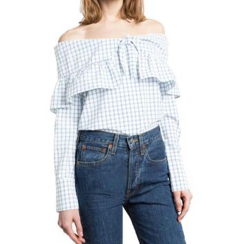 Fashion Ruffles Blouse Casual Loose Off-shoulder Plaid Tops Preppy Cute Slash Neck Summer Shirts