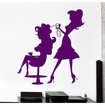 Vinyl Wall Decal Beauty Hair Salon Hairdresser Barber Woman Stickers Unique Gift (729ig)