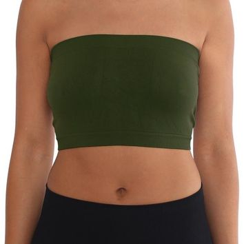 Women's Strapless/Seamless Tube Top Bandeau - Olive