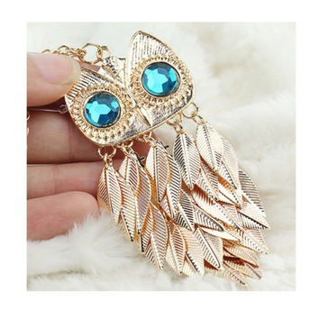 2015 Popular Owl Design Gold Leaves Leaf Tassel Pendant Necklace Chain Costume Jewelry = 1645832516