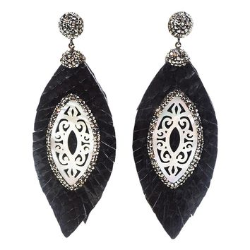 mother of pearl feather leather earrings black