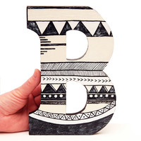 "Letter B Wall Decoration, Geometric Letter Decor, Geometric Wall Letter, Hanging Wooden Wall Art Letter, Black and White 9"" Sign"
