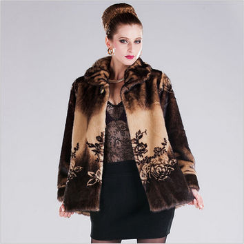 Fox Fur Collar Women Warm Winter Faux Fur Coat With Fur Trim Hood Leather Female-Coat Artificial Girl Faux Fur Coat A2046