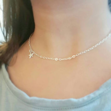 Star choker, wish necklace, flower girl gift , bridesmaid star , wish upon a star , disneybounding, fall choker , gift for her , silver star