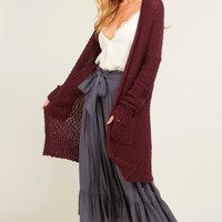 open-front long-line cardigan - burgundy