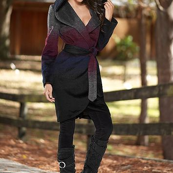 DARK RED Ombre hooded coat,zipper corduroy, buckle boot from VENUS