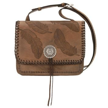 Sacred Bird Multi-Compartment Crossbody Flap Bag - Distressed Charcoal Brown