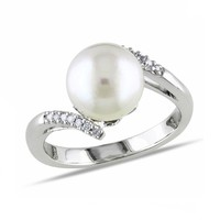 South Sea Pearl and Diamond Fashion Ring 1/15ctw